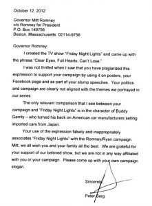 Friday Night Lights Peter Burgs Letter To Romney