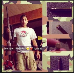 Jaylen Fryberg With His Rifle Birthday Present From Mom And Dad