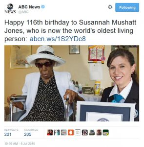 Happy 116th birthday to Susannah Mushatt Jones, who is now the world's oldest living person